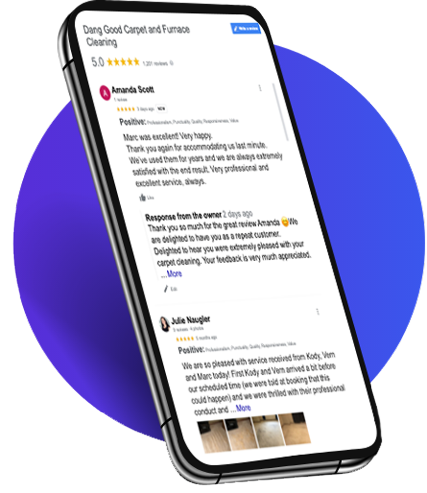 device with reviews on display